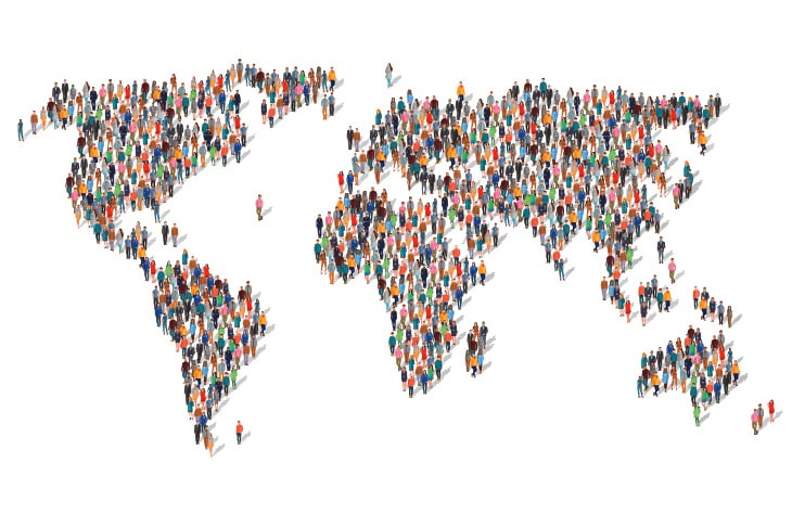 A world map made of humans represents competition and under performance anxiety